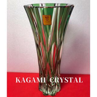 カガミクリスタル 色被切子 フラワーベース 江戸切子(花瓶)