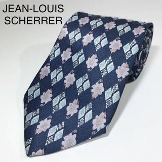 ジャンルイシェレル(Jean-Louis Scherrer)のジャンルイシェレル 日本製 高級シルク ネクタイ 花小紋 オリエンタルブルー(ネクタイ)