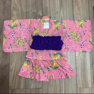 Branshes - ブランシェス 浴衣ドレス ピンク花柄 90 ワンピース 女の子 紫帯 セット