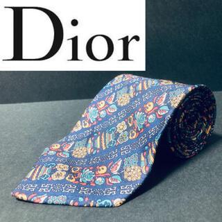 Christian Dior - 【美品】Dior/ディオール ネクタイ ネイビー 総柄