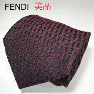 フェンディ(FENDI)の美品 フェンディ イタリア製 ウール・シルク ネクタイ ズッカ柄 FF柄(ネクタイ)
