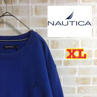 ノーティカ(NAUTICA)の【大人気】ノーティカ スウェット XL ブルー ゆるだぼ 刺繍ロゴ ビックサイズ(スウェット)