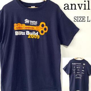 アンビル(Anvil)のUS古着anvil アンヴィル 企業ロゴ 両面プリント Tシャツ ネイビー L(Tシャツ/カットソー(半袖/袖なし))