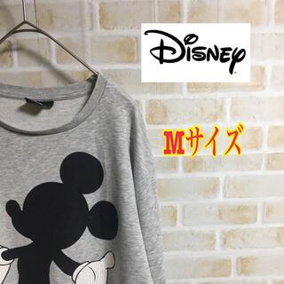 ディズニー(Disney)の【大人気】ディズニー ミッキー ロンT Mサイズ グレー 古着 希少(Tシャツ/カットソー(七分/長袖))