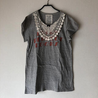 ゴートゥーハリウッド(GO TO HOLLYWOOD)の美品ゴートゥーハリウッドレース付きTシャツチュニック(Tシャツ/カットソー)
