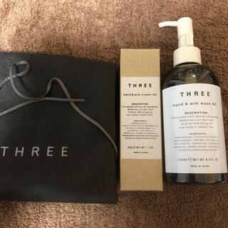 スリー(THREE)の袋、紐付き THREE ハンド&アームクリーム50gとハンドソープ250ml(ハンドクリーム)