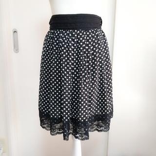 レストローズ(L'EST ROSE)のレストローズ♡レース×リボン×ドット柄スカート(ひざ丈スカート)