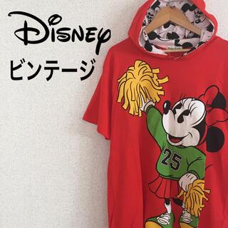 ディズニー(Disney)の【激レア】 ビンテージ ディズニー パーカー 半袖 トップス  ミニー 赤 美品(パーカー)