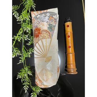 尺八袋 二分割用 扇に花車 帯リメイク ハンドメイド(尺八)