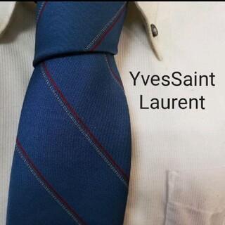イヴサンローランボーテ(Yves Saint Laurent Beaute)の大人気★イヴサンローラン★ロゴ入り正統派ストライプ高級ネクタイ★希少(ネクタイ)