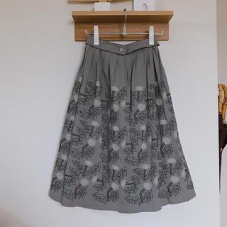 ミナペルホネン(mina perhonen)の新品未使用 ミナペルホネン  タンポポ 刺繍 スカート  グレー 38(その他)