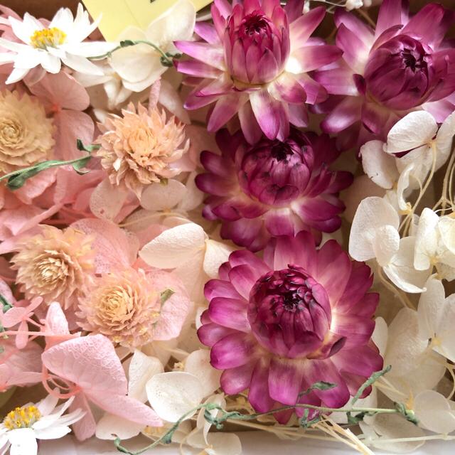 ピンク&グリーン&ホワイト&イエロー 花材 アソートボックス ハンドメイドの素材/材料(各種パーツ)の商品写真