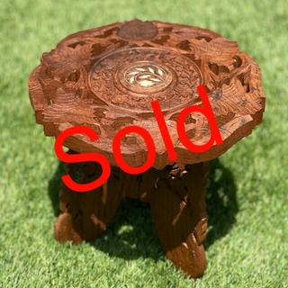 花台 折りたたみ 彫刻 木製 テーブル イス(折り畳みイス)