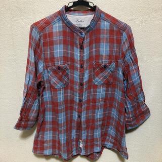 バックナンバー(BACK NUMBER)のノーカラーシャツ リメイク チェック back number 赤 青 七分袖(シャツ/ブラウス(長袖/七分))