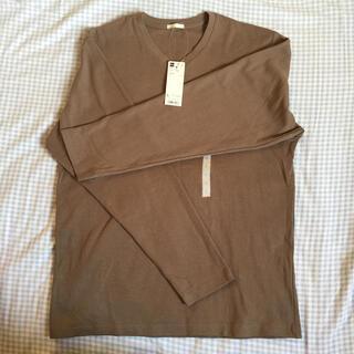 ジーユー(GU)の新品 GU ソフトコットンVネック長袖Tシャツ L 綿100%(Tシャツ/カットソー(七分/長袖))