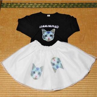 ネコの長袖Tシャツ 黒 110cm(Tシャツ/カットソー)