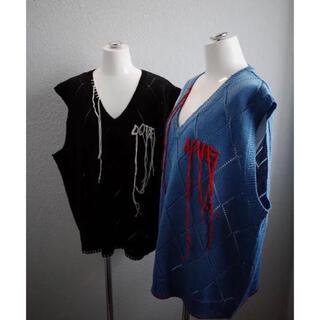 """アンユーズド(UNUSED)のdairiku """"LOVE""""Hard Agyle Knit Vest (ベスト)"""