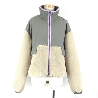 ザラ(ZARA)のザラ ジャケット ブルゾン コンビフードジャンパー 中綿 ベージュ グレー M(ブルゾン)