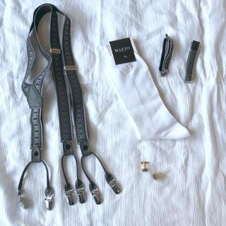 新郎小物 サスペンダー カフス 靴下 アームバンド タキシード スーツ 結婚式(サスペンダー)