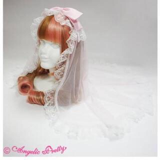 アンジェリックプリティー(Angelic Pretty)の新品未使用♡アンジェリックプリティ ベール付きカチューシャ ピンク(カチューシャ)
