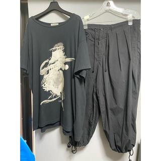 Yohji Yamamoto - ヨウジヤマモト 18awプリントカットソー 19ssコットンバルーンパンツ