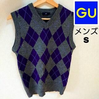 ジーユー(GU)の【gu】 メンズS ニットベスト アーガイルチェック柄(ベスト)