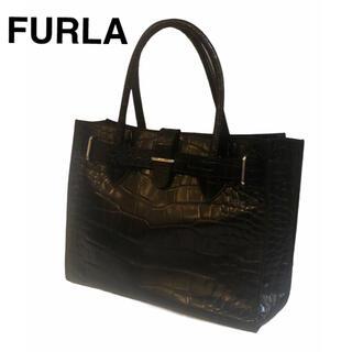 フルラ(Furla)の【美品】FURLA フルラ ハンドバッグ クロコ型押し ブラック(ハンドバッグ)