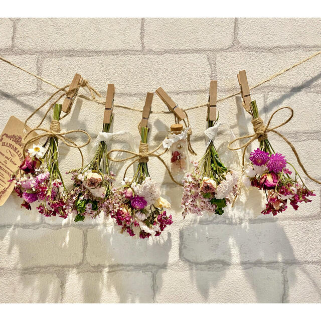 ドライフラワー スワッグ ガーランド❁232ピンク薔薇 花束フラワーボトル付き ハンドメイドのフラワー/ガーデン(ドライフラワー)の商品写真