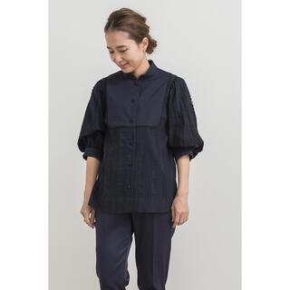ドゥロワー(Drawer)のyori パフスリーブボザムブラウス ネイビー 34(シャツ/ブラウス(半袖/袖なし))