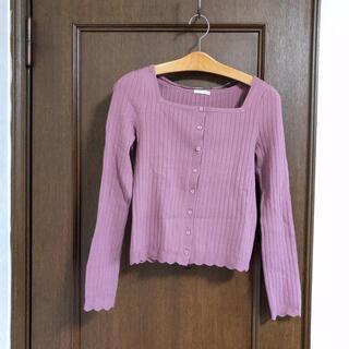 GU - GU 紫 前開き カーディガン セーター