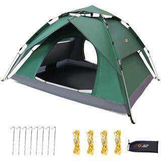 TTG-T ワンタッチテント 2-4人用 2重層 キャンプ テント ワンタッチテ(旅行用品)
