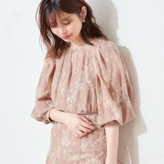 natural couture - 配色レースパフブラウス オレンジ系 人気完売商品