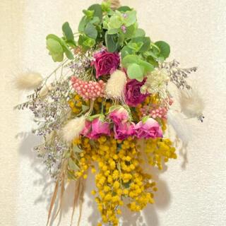 ミモザの花束 スワッグ ミニ薔薇(ドライフラワー)