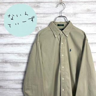 【USA製】90s ラルフローレン ベージュ ワンポイント 刺繍ロゴ BDシャツ(シャツ)