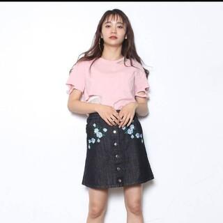 ジュエティ(jouetie)の【美品】jouetie 刺繍 デニムスカート Mサイズ(ミニスカート)