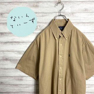 【アースカラー】90s ラルフローレン ベージュ ワンポイント刺繍ロゴ シャツ(シャツ)