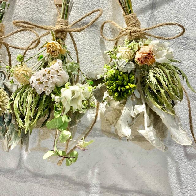 ドライフラワー スワッグ ガーランド❁234 ナチュラル ピンク 白 花束♪ ハンドメイドのフラワー/ガーデン(ドライフラワー)の商品写真