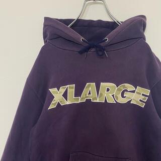 XLARGE - エクストララージ デカロゴ シンプル 古着パープル 紫プルオーバーパーカー