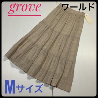 グローブ(grove)のgrove グローブ ワールド ギャザー スカート M フレア ロング おしゃれ(ロングスカート)