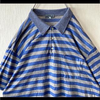 クリスチャンディオール(Christian Dior)のChristian Dior ディオール ポロシャツ グレー×ブルー 麻 リネン(ポロシャツ)