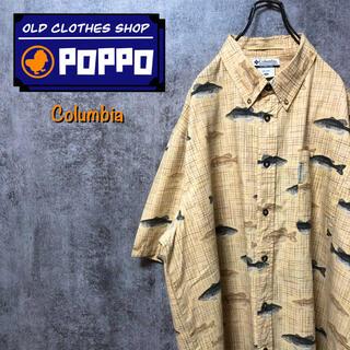 Columbia - コロンビア☆ロゴタグ入りフィッシュ柄半袖レトロ総柄フィッシングシャツ