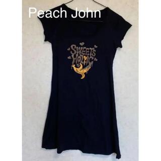 ピーチジョン(PEACH JOHN)の☆ピーチジョン チュニックTシャツ ブラック Sサイズ(チュニック)