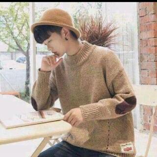 セーター メンズ ニット モックネック 長袖 襟 オーバーサイズ パッチ(ニット/セーター)