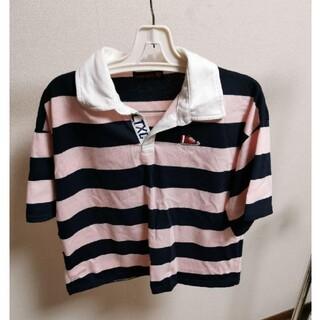 ラブトキシック ポロシャツ 刺繍 ピンク ボーダー テニス オーバーサイズ(ポロシャツ)
