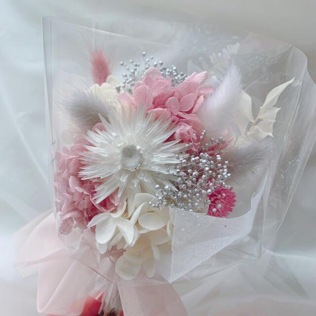 ピンクグレー系 ドライフラワー 花束 ブーケ スワッグ ギフト 母の日 ハンドメイドのフラワー/ガーデン(ドライフラワー)の商品写真