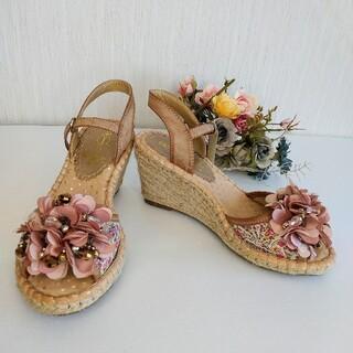 アシナガオジサン(あしながおじさん)のあしながおじさん ビジュー付き ウェッジソール サンダル ピンク 花柄 サイズS(サンダル)