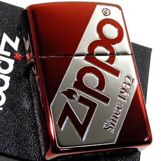 ジッポー(ZIPPO)の(送料込み)ZIPPO◇ナナメ/ジッポロゴ◇レッド◇新品◇ジッポ(タバコグッズ)