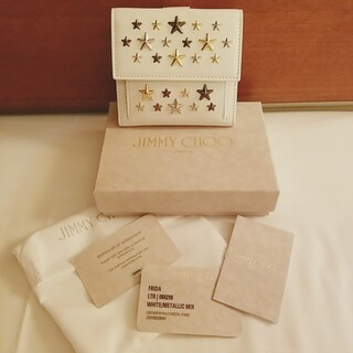 ジミーチュウ 二つ折り財布 フリーダ ホワイト/メタリックミックス