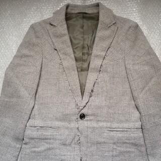 ジュンハシモト(junhashimoto)のジュンハシモト カットオフツィードテーラードジャケット サイズ2 ベージュ(テーラードジャケット)