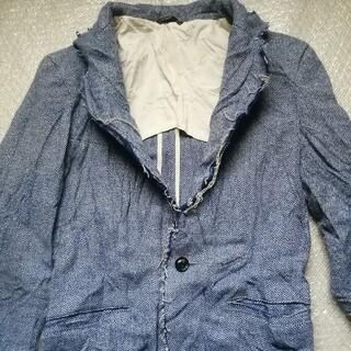 ジュンハシモト(junhashimoto)のジュンハシモト カットオフツィードテーラードジャケット サイズ2 ブルー(テーラードジャケット)